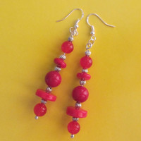 "Sterling Silver AAA Sardinian Coral, Dyed Red Jade, Silvertone Bead Dangle Earrings 3"" - 13.27g"
