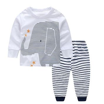 Adorable!! Boys Long Sleeve Top With Elephant Print And Pants 6, 12, 18 And 24 Months