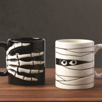 Skeleton and Mummy Halloween Mugs