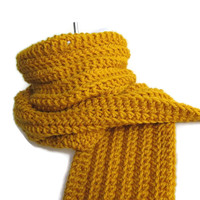 Pure Wool Mustard Yellow Scarf