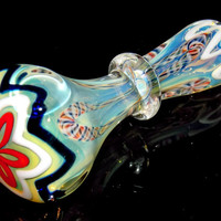 Color Changing Maria Glass Spoon Pipe Cute Daisy Flower Design with Colorful Latticino and Super Deep Bowl