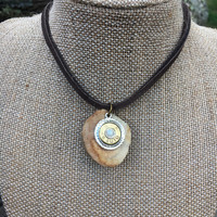 Necklace, Leather, Choker, Hunting, Opal, Nature, Bullet, Ammo, Native American, Ethnic, Deer, Shed, Antler, Stag, Western, Woodland, Boho
