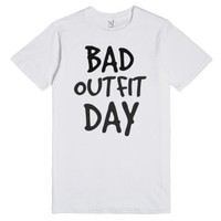 Bad Outfit Day white tee t shirt tshirt-Unisex White T-Shirt