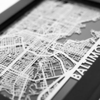 Baltimore Maryland Stainless Steel Cut Map / Picture Frame
