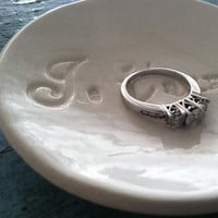 Ring Dish Je T'aime design in Classic White