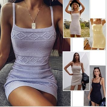 Popular knitted elastic sexy suspender dress for women