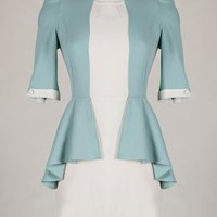 Corporate Aesthetics Mock Two-Piece Dress in Moonstone Blue   Sincerely Sweet Boutique