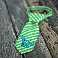Little Guy Tie - Dinosaur Dino Dino Roar in Green Blue - Infant through 8 years - Pre-Tied with Adjustable Velcro Closure