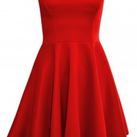 Megan Red Bandeau Skater Dress | Shelikes