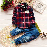 Cotton Spring Autumn Kids Boys Clothes Set Baby Boy 2016 New Long Sleeve Plaid Shirt +Trousers Toddler Baby Boys Clothing