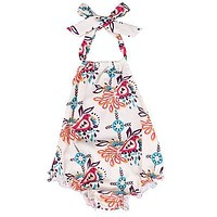 born Baby Girls Floral Sleeveless Romper Backless Jumpsuit Summer Clothes