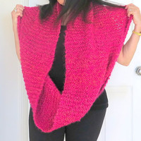 Over sized cowl, chunky knit loop shawl, large infinity scarf, gift for her