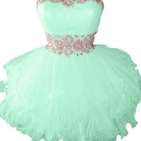Sunvary Cute Sweety 16 Cocktail Homecoming Dress Evening Dress Mini Bridesmaid Prom Gowns Juniors Size 6- Mint