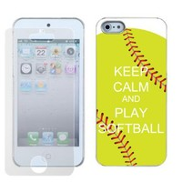 SLIM-FIT Hard Case + SCREEN PROTECTOR for Apple iPhone 5 Keep Calm / Softball