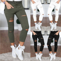 Fashionable Ripped Design Tight Pants a12850