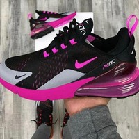 Nike Air Max 270  Black ash rose red Gym shoes