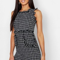 Tweed Frayed Edge Mini Pinafore Dress | Boohoo