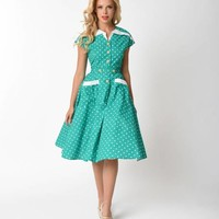 Unique Vintage 1950s Style Green & Ivory Dotted Cap Sleeve Hedda Swing Dress