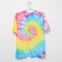 MP Mutilcolor Spiral Tie Dye Short Sleeve T Shirt 052833 T0610