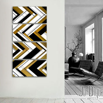 "Original abstract painting 51x12"" 4 piece canvas art. Large painting. Black and gold. Geometric wall art. Modern wall art. Gold painting."