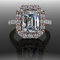 Forever Brilliant Moissanite and Diamond Halo Engagement Ring 3.40 CTW