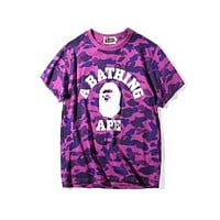 Bape counters classic head portrait full body camouflage round neck short T F-Great Me Store Purple