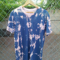 Navy Blue And Coral Acid Wash Tee