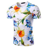 summer new flower printed T-shirt for Men size sml