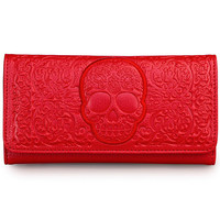 Frightful Filigree Skull Wallet in Crimson