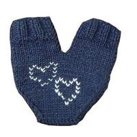 One mitten for two hearts, knitting lover glove for him and her, with hearts, valentines day