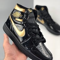 "Air Jordan 1 High Patent ""Black/Gold"" Flat Sneakers Basketball Shoes"