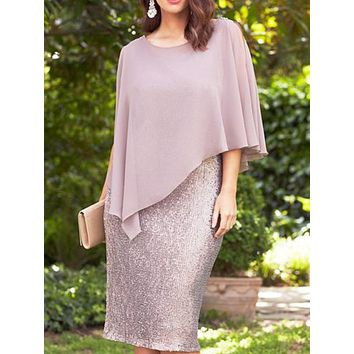 felainse29 plus size solid color chiffon fake two-piece self-cultivation hip sexy dress for women