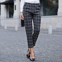 Veri Gude Women's England Style Plaid Pants Straight Trousers for Autumn Women Check and Plaid Ankle-Length Pants