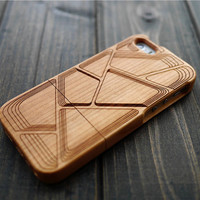 Cherry  Wood Phone Case for iPhone 5 5s , Real Wood iPhone 5 5s Case Holder , Custom Wood iPhone 5 5s Case Cover , Gift for Dad , Only One