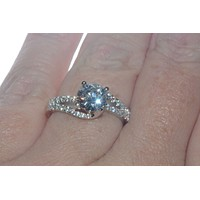 Sterling Silver Cubic Zirconia Solitaire Ring 7mm Round CZ with Fancy Band