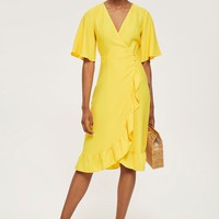 Crepe Ruffle Midi Wrap Dress | Topshop