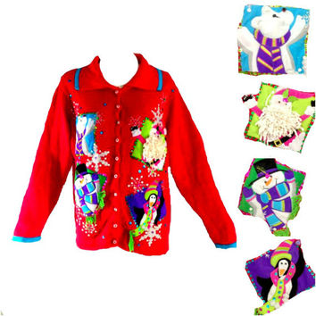 ViNtAgE 80s RED Ugly Christmas Sweater Slouchy QUIRKY Novelty Cardigan 3 D Sequin Santa Holiday Snowman Kitschy Applique Embellished L XL