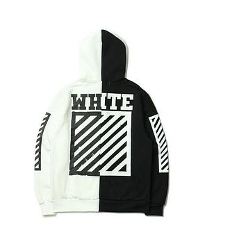 Off White Hoodie Mens Sports hoodie Clothing Hiphop Sweatshirt Striped Cotton Fleece black with white Sweatshirt