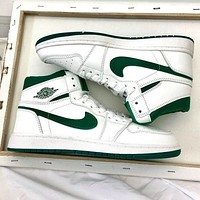 Air jordan1 AJ 1 Men's shoes high-top sneakers female students breathable basketball shoes sneakers White&Green