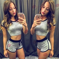 Women's Trending Popular Fashion 2016 Summer Beach Holiday Sport Suit Fitness Sportswear Stretch Exercise Yoga  _ 4667