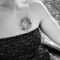 vintage floral design temporary tattoo by pepperink on Etsy
