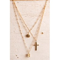 Libby Story Triple Chain Cross Necklace