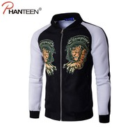 Phanteen Tiger Printed Man Jackets Slim Fit Casual Spring Coats Stand Collar Street Hiphop Outerwear Fashion Men Brand Clothing