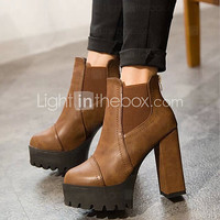 Women's Shoes PU Leather Chunky Heel Heels/Bootie/Round Toe Boots Office & Career/Casual Black/Brown