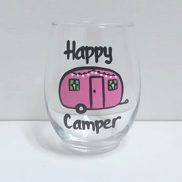 Happy Camper handpainted stemless wine glass