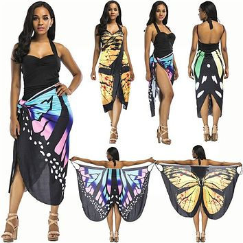 Butterfly Wings Wrap Cover Up Dress