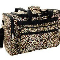 """Amazon.com: 16"""" Leopard Print Duffle Dance Gym Bag Travel Luggage Carry on Black Brown: Clothing"""