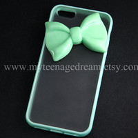 Iphone 5 Case, lovely mint green bow iphone 5 Hard Case iPhone Case 5 mint green side clear case