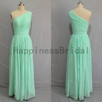 Mint one-shoulder chiffon prom dress with pleat,mint prom dresses,bridesmaid dress,chiffon prom dress,long evening dress 2014,formal dresses