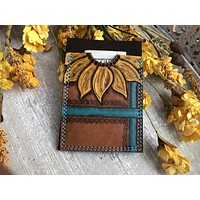 Ready to Ship Sunflower Tooled Leather Wallet - Business Card Holder